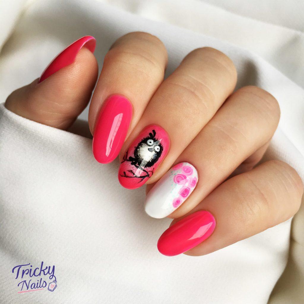 Jak namalować sowę (ptaszka) na paznokciach? Różowy manicure na wiosnę