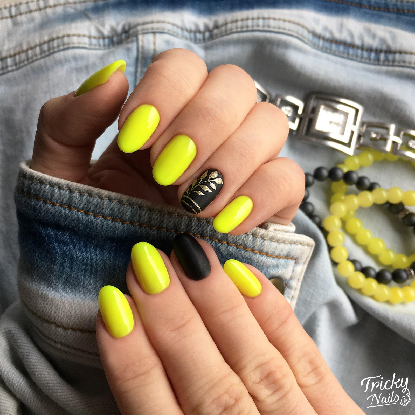Tricky Nails Zolte Czarne Paznokcie Wiosna Krotkie 2019 Inspiracja